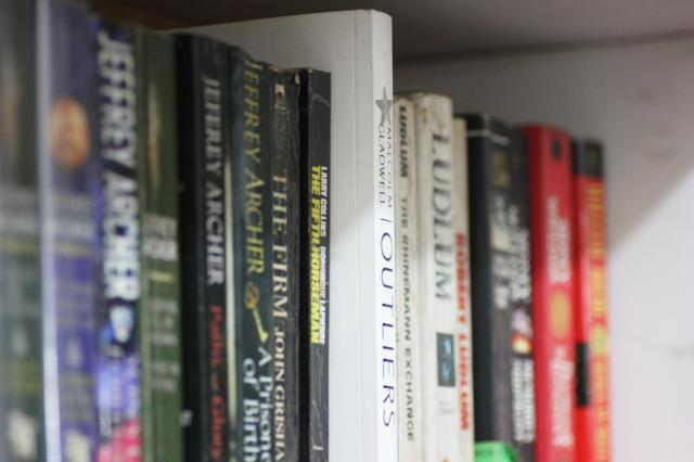 Picture of novels on a shelf